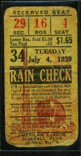 baseball rain check